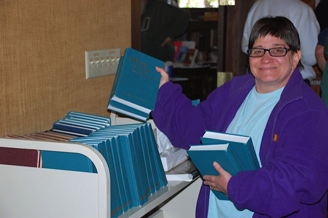 Cindy with Hymnals